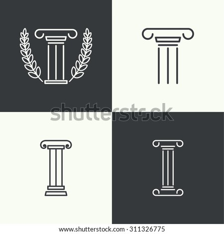 set of vector icons. Antique column. Pedestal. The concept of stability and inviolability. Historical values. Logo simple design - stock vector