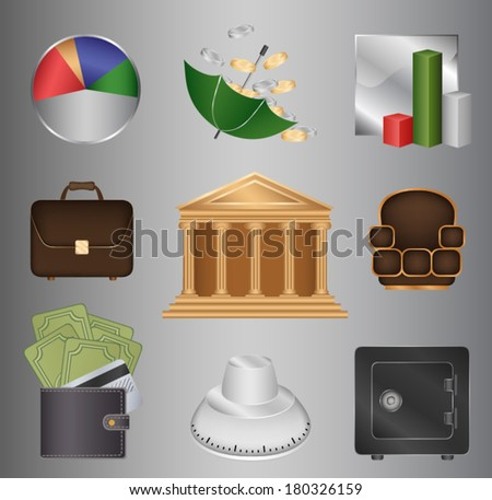 Set of vector icons (bank and finance)