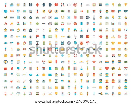 Set of vector icons. Flat design. - stock vector