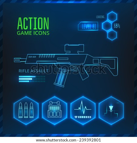 Set of vector icons for a game in the genre of shooter or action. On a blue background with glowing elements. - stock vector