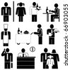 Set of vector icons for restaurants and cafe. Pictograms - people at work. Waiter and Chef. Family. - stock vector