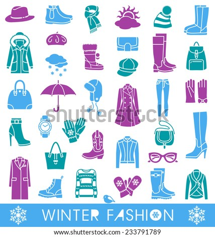 Set of vector icons for winter fashion - stock vector