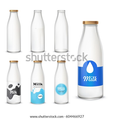 Set Of Vector Icons Glass Bottles Empty And With A Milk In A Realistic Style