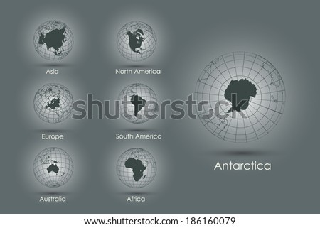 Set of vector icons globes with continents - stock vector