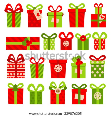 Set of vector icons in flat style for Christmas. Stylish set of gifts for Christmas. Different gifts boxes decorated with bows and boutonniere. - stock vector