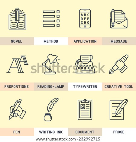 Set of vector icons in flat style. Writer, copywriting, keywords, editing, text, font, composition, creative. - stock vector