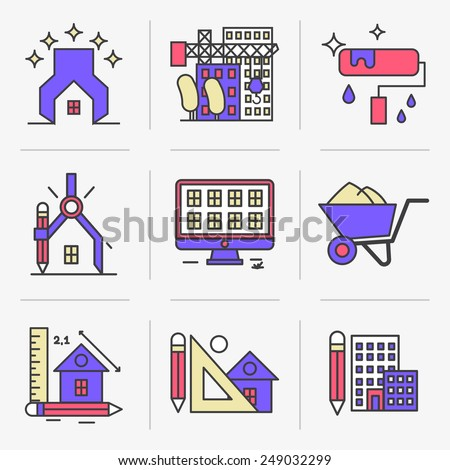 Set of vector icons into flat style. Design and construction of housing facilities.  Isolated Objects in a Modern Style for Your Design. - stock vector