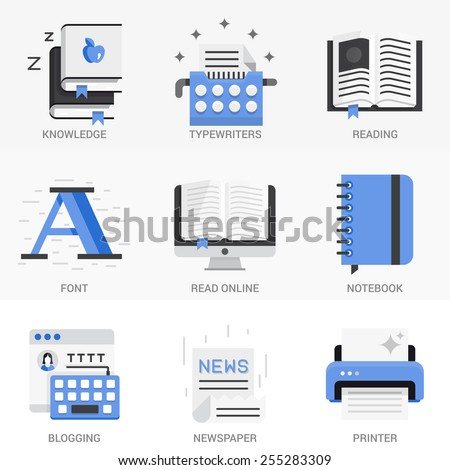 Set of vector icons into flat style. Isolated Objects in a Modern Style for Your Design. - stock vector