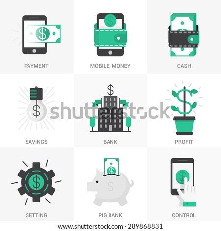 set vector icons into flat style stock vector 289868831 shutterstock