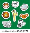Set of vector icons, jungle animal stickers - stock vector