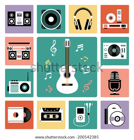 Set of vector icons of audio and musical instrument. - stock vector
