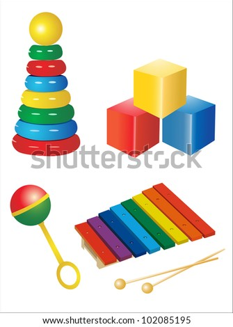 set of vector icons of children's toys - stock vector