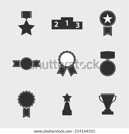Set of vector icons of different awards, cup, ribbons, rosettes, medals for success. Sports trophies, podium, pedistal - stock vector
