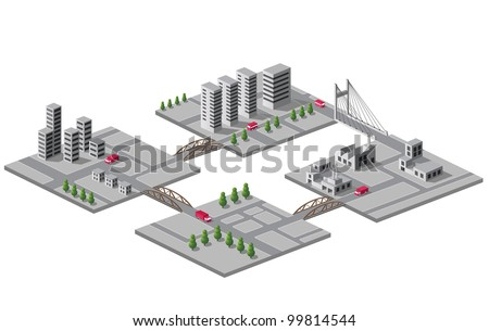 Set of vector icons of isometric on the city