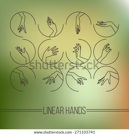 Set of vector icons of linear mapping graceful female hands in different gestures - stock vector