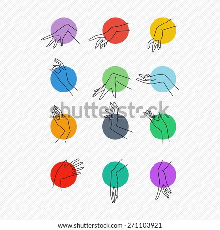 Set of vector icons of linear mapping graceful female hands in different gestures on the multi-colored round dies - stock vector