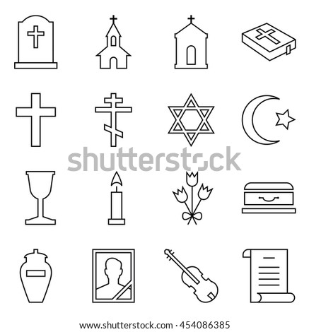 Set of vector icons of linear symbols funeral and cemetery - stock vector