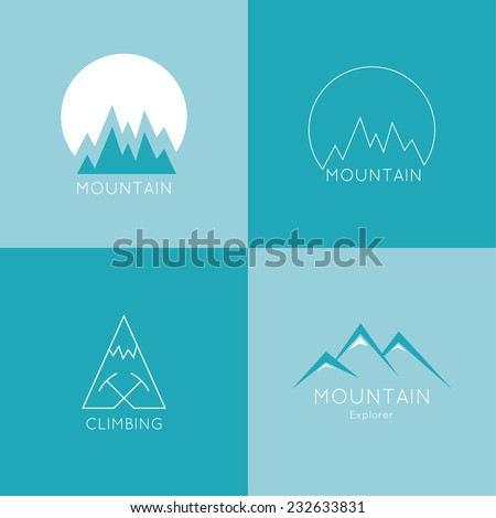Set of vector icons of mountains. Logo. Hiking, climbing, travel, exploration. Investigation of the Wild - stock vector
