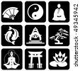 set of vector icons of religious buddhism signs and symbols - stock vector
