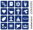 set of vector icons of religious christianity - stock vector