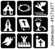 set of vector icons of religious christianity signs and symbols - stock vector