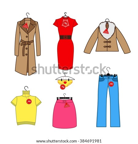 Set of vector icons of women's clothes trempel with tag new arrival, discounts. Colorful women's clothing icons collection. Set of vector icons for design labels, flyers, discount vouchers