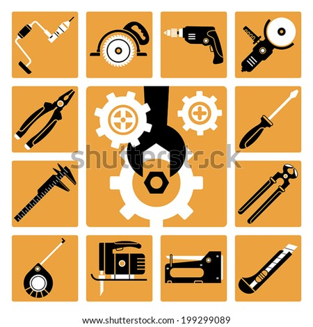 Set of vector icons of working tools - stock vector
