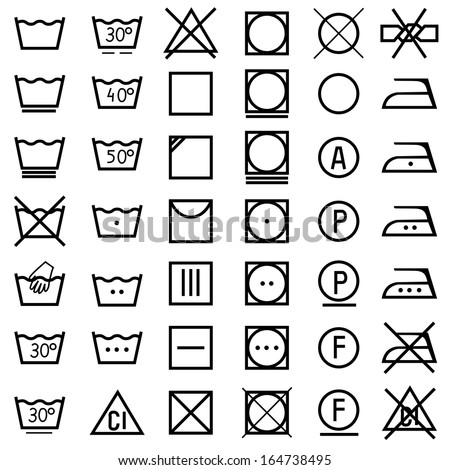 Set of vector icons on clothing label. - stock vector