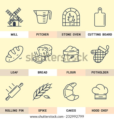 Set of vector icons on flour products, natural products, bread, pastry, bakery, cutting board, kitchen, grain, village, mill, cook. - stock vector