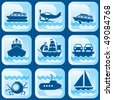 set of vector icons on marine vessels and transport - stock vector