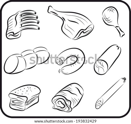 set of vector icons on the theme of meat - stock vector
