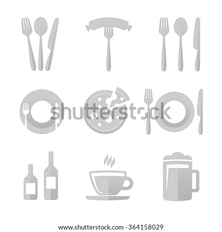 Restaurant Kitchen Utensils restaurant icons stock vector 268661876 - shutterstock