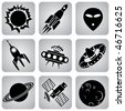 set of vector icons. Space transport and flying machines - stock vector