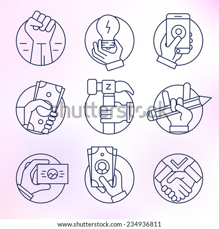Set of vector icons, thin line, round, business and finance, gestures, hands. - stock vector
