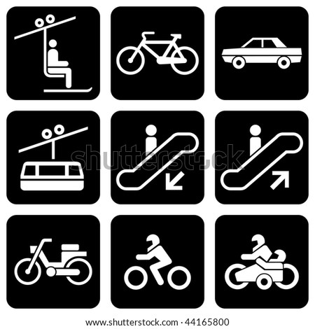 "set of vector icons to transport theme ""Only Transport"" - stock vector"