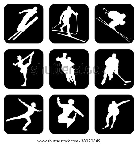 set of vector icons. Winter Sports.