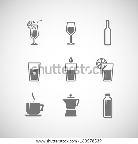 set of vector icons with beverages  - stock vector