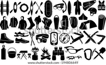 Set of Vector icons with different outdoor, caver and watersport gear - stock vector