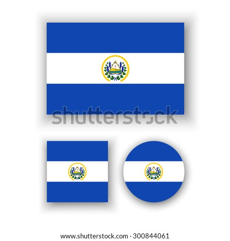 Set of vector icons with El Salvador flag - stock vector