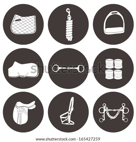 Set of vector icons with horse equipment. High quality equestrian illustration, including numhan, bandages, lead, headcollar, bit, stirrup, saddle, rug. - stock vector