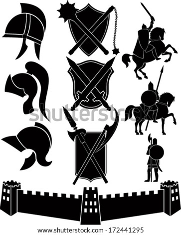 set of vector icons with knights, castle, helmets, shields and swords - stock vector