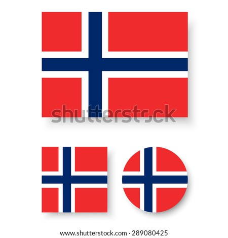 Set of vector icons with Norway flag - stock vector