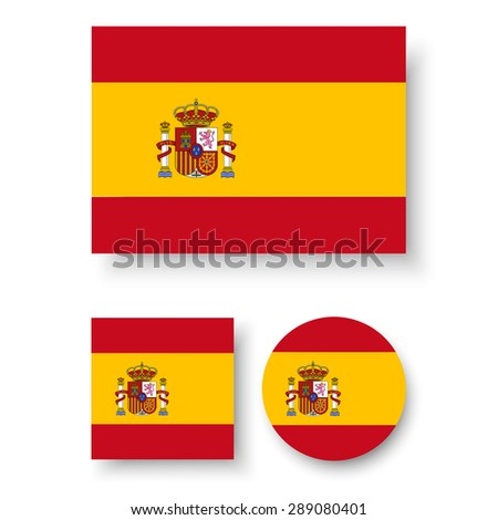 Set of vector icons with Spain flag - stock vector
