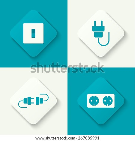 Set of vector icons with wire plug and socket, power switch. Buttons for web and mobile applications. flat design - stock vector