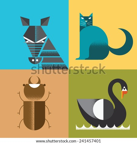 Set of vector illustrated animals - stock vector