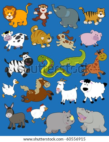 Set of vector illustrated animals - children style - stock vector