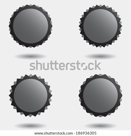 Set of vector illustration badge icons, stamps or stickers, in grey and black toning, with shadows and three dimension effect.