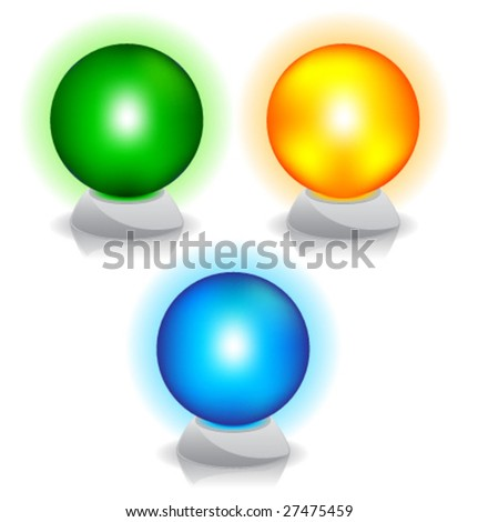 Set of vector illustration. Crystal magic ball. Color. - stock vector