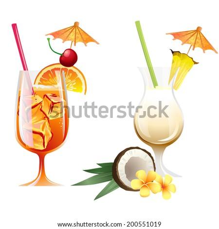 Set of Vector Illustration Icons beach tropical cocktails bahama mama and pina colada with garnish - stock vector