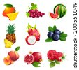 Set of  Vector Illustration Icons fruits and berries with leaves - stock vector